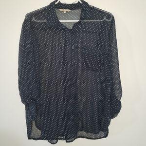 3/25$ RW&CO Sheer polka dot fluid blouse